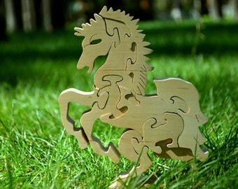Wooden puzzle Horse, Handmade Eco Friendly Toy, For Toddlers, Logic toys, Wooden toy, Natural, Organic and Safe toy