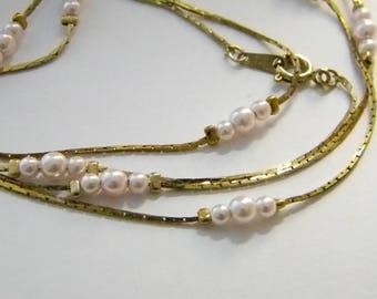 Pale Pink Pearl Necklace Gold Tone Box Chain
