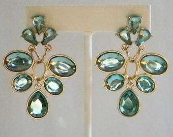 Large Dangle Caribbean  Green Crystal Look Pierced Earrings