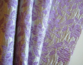 Vintage 1960's Brocade Fabric Mauve Purple Floral Silver 1970's Embroidered Fashion Fabric Elegant Formal Bridesmaids