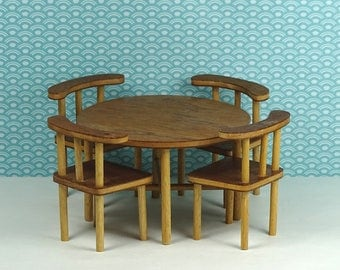 Doll house vintage dining room teak veneer 1960s furniture wood