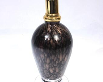 Murano Style Adventurine Goldstone Copper Oil Lamp, Home Decor Art Glass