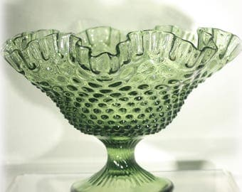 Large Fenton Glass Colonial Green Hobnail Ruffled Footed Bowl 1962, Home Decor, Art Glass