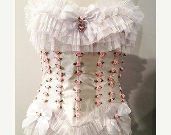 30%offsalexo Ruffles roses and rhinestones. ddlg fully boned corset. bdsm. fetish. petplay.
