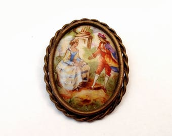 Antique Limoges France Porcelain Courting Couple Brooch with Trombone Clasp