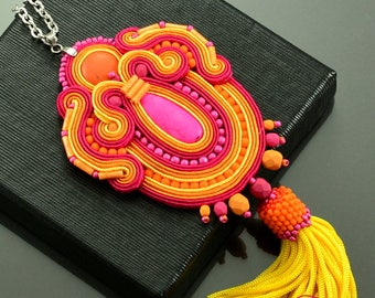 Pink Orange Tassel Necklace, Gift for Christmas, Orange Soutache Necklace with Tassel, Pink Necklece, Boho Necklace, Extravagant necklace