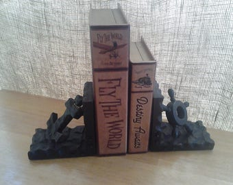 Nautical Wooden Bookends, Anchor Ship Wheel Bookends