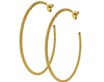 14K gold vermeil Boho gold hoops, grecian style, with screws, 925 sterling silver