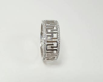 Greek meander wide band ring, with white zircons, 925 sterling silver