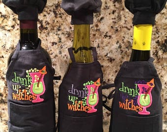 Monogrammed Wine Apron - Drink Up Witches