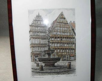 High-quality color etching-Helmeta Fischer-Oels-Hannover-in beautiful frame-etching