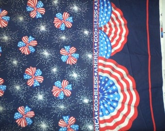 God Bless America patrotic double border fabric red white and blue  33 inches by 59 inches wide