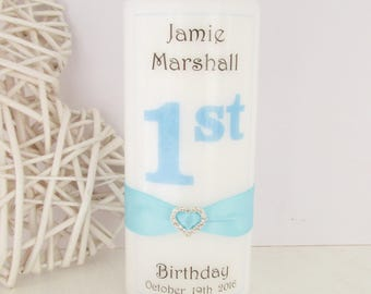 Personalised 1st birthday candle