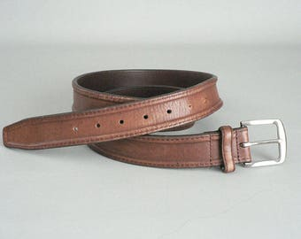 Mens Brown Leather Belt Size 42/108 With Silver Buckle