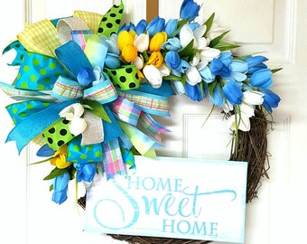 Spring Grapevine Wreath, Home Sweet Home Wreath, Grapevine Tulip Wreath, Rustic Door Decor