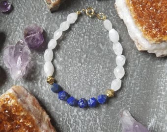 Lapis Lazuli and moonstone bracelet | ooak | gemstone bracelet