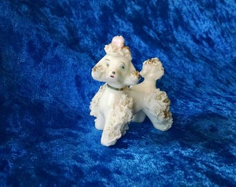 Miniature Vintage Ceramic Poodle, with Flower, Dog Love, '50s Fun!