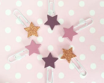 Paperclips in purple & copper - star planner clips - back to school bookmarks - glitter paperclip - page marker - stationery accessories