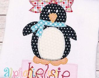 Winter Penguin Girl Applique Design- Blanket