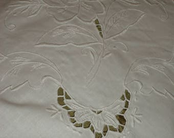 Vintage  Embroidered Cutwork White on White  Tablecloth 66 X 120 inch & 12 Napkins NEW Store Stock Today's Gift Tomorrow's Heirloom