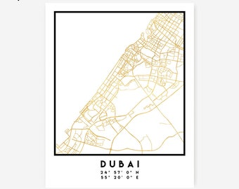 Dubai Map Coordinates Print - United Arab Emirates City Street Map Art Poster, Gold Dubai Map Print, Dubai UAE Coordinates Arabic Poster Map