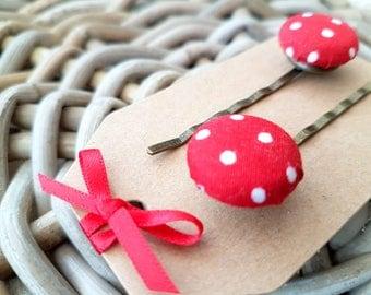 Red Polka Dot Button Hair Grip