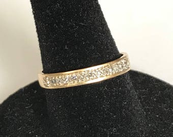 Vintage 14 k yellow gold diamond wedding band ~anniversary band~stackable