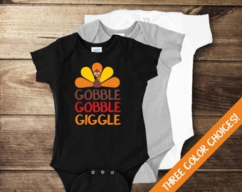 Gobble Gobble Giggle Bodysuit, My First Thanksgiving, Baby Boy Thanksgiving, Baby Girl Thanksgiving, Gender Neutral