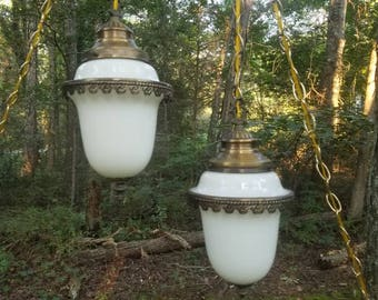 milk glass swag light with chain pendant light home