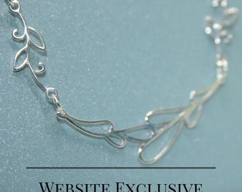 Sterling Silver Abstract Floral Necklace