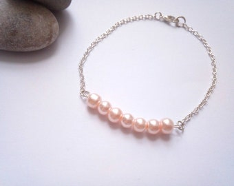 Pink Bridesmaid Bracelet, Bridesmaid Gift, Thank You Gift, Pearl Bracelet, Wedding Jewellery, Budget Bridesmaid, Wedding Jewellery