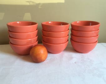 vintage melamine bowls 12 bowls rio orange color 16 oz size distributed - Melamine Dishes