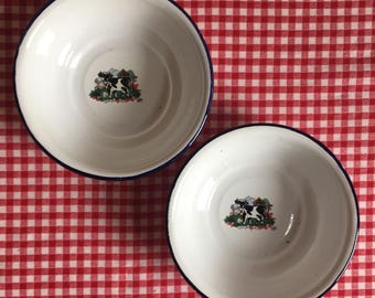 """Enamelware Bowls 2, Small Vintage Classic White Enamelware Blue Rim with Black/White Cow Transfer Pattern, by """"COOK n LITE"""" made in Kenya"""