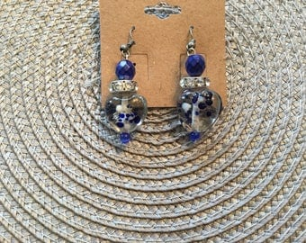 Royal Blue Lampwork Dangle Earrings