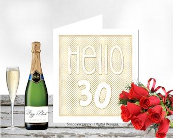 Birthday, Printable Cards, Greeting Cards,  30th Birthday Card Topper.  Print Yourself.  CU4CU