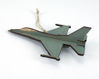 Wooden F-16 Falcon Fighter Jet Christmas Ornament