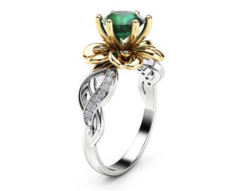 Natural Emerald Petal Engagement Ring 14K Two Tone Gold Petal Ring Unique Emerald Engagement Ring