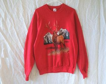 80s Red Hipster Nature Scene Deer Sweatshirt