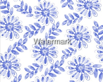 Blue and white floral print