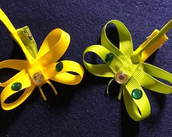 2 Dragonfly Hair clips