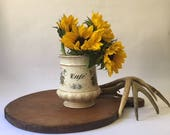 vintage French cafe coffee canister with transferware decoration of flowers, old crazed surface, antique kitchen modern farmhouse brocante