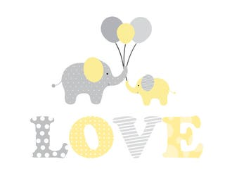 Wall Decals Nursery Stickers-Elephant name wall decal- nursery wall decals-Reusable Wall Decals-Love Decal with Elephants-Nursery Wall Art