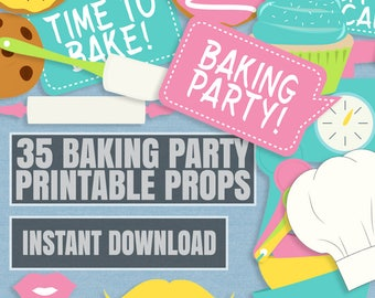 35 Baking Party Photo Booth Props, baking kitchen themed party props, love cooking party photobooth sign, bake party props, instant download