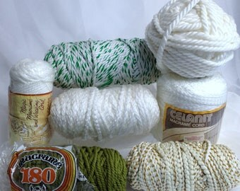 Macrame Yarn, Vintage Macrame Supply, Weaving Cord, Striped & Solid Thick Yarn for Crafting
