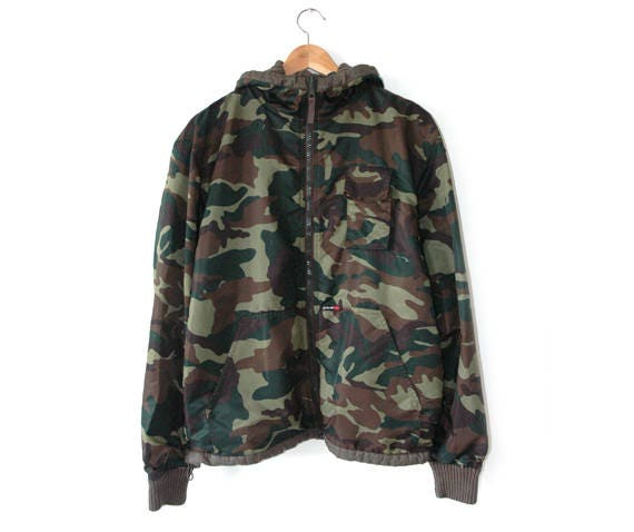 Schott camouflage hooded reversible jacket