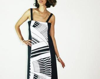 40%OFF 70s RETRO DRESS, black white dress, summer dress, sundress, day dress, geometric dress, sleevelress dress, abstract dress, size s m l