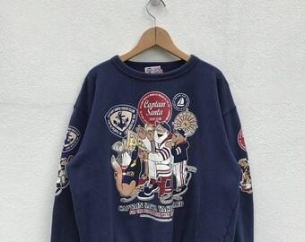20% OFF Vintage Captain Santa Sweatshirt / Captain Santa Yatch Club Pullover / Ski / Vintage Sweater