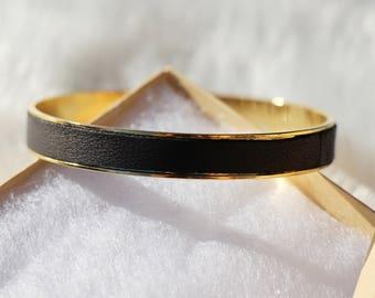 Christmas woman - bangle Bracelet gold and black leather gift