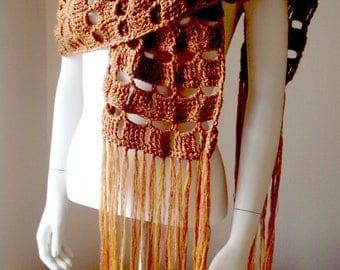Crochet, lace stole, shawl, mid-season, retro, 70's.