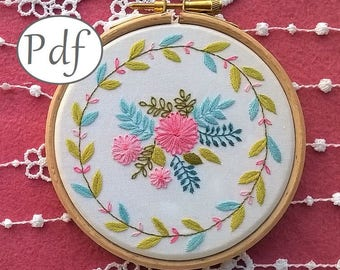 "embroidery pattern pdf  - ""Summer time"" - Spring  hand embroidery pattern -  embroidery kit - embroidery hoop art - floral designs"